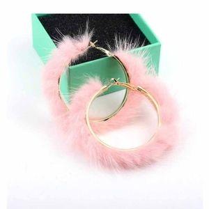 Pink Faux Fur Hoop Earrings
